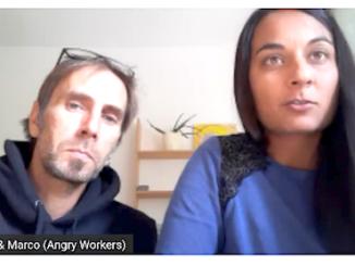 Kiran och Marco från Angry Workers i London.