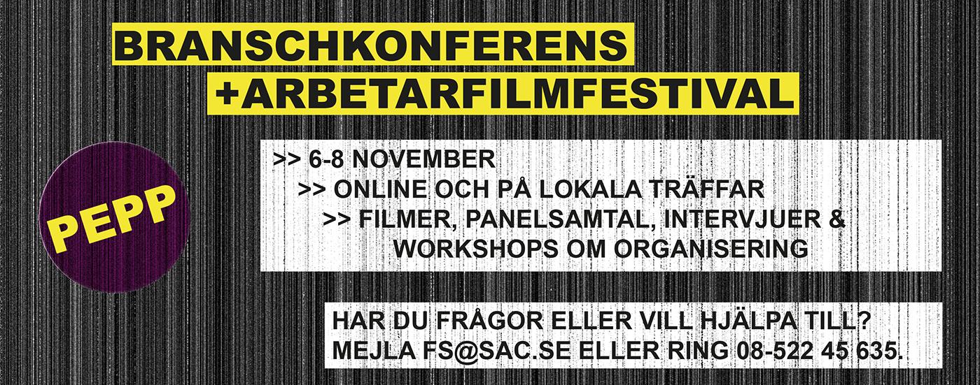 Annons för SAC:s branschkonferens och Nordiska arbetarfilmfestivalen.