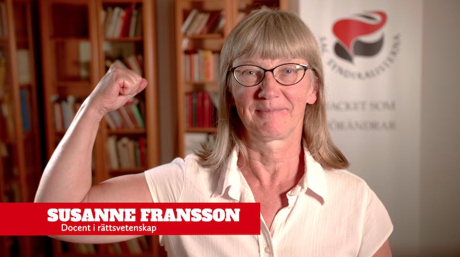Susanne Fransson. Bild från filmen Hundra år av kvinnostrejker av fackföreningen Göteborgs LS av SAC.