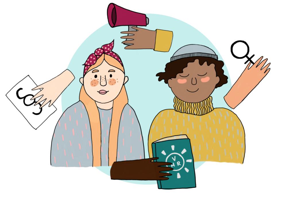 Illustration av två personer och en hand med en bok i, en hand med en megafon, en hand med ett kvinnomärke och en hand med ett papper med ett paragraftecken på. Ritad av Fanny Hökby