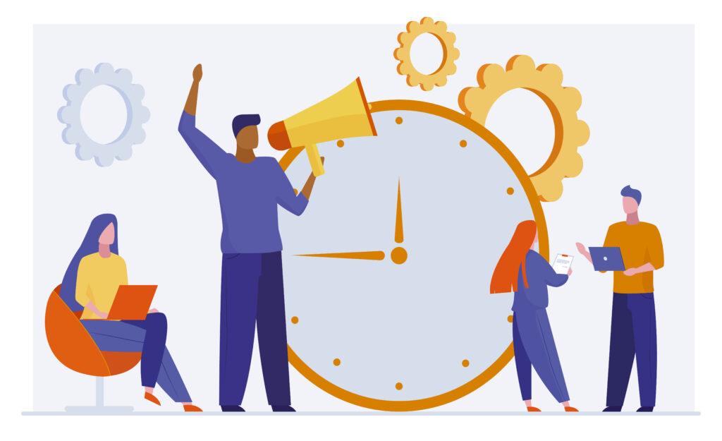 Successful time management. Team working on project near clock, leader shouting at megaphone flat vector illustration. Teamwork, timing, deadline concept for banner, website design or landing web page