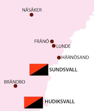 Karta som visar Sundvall och Hudiksvall med omnejd
