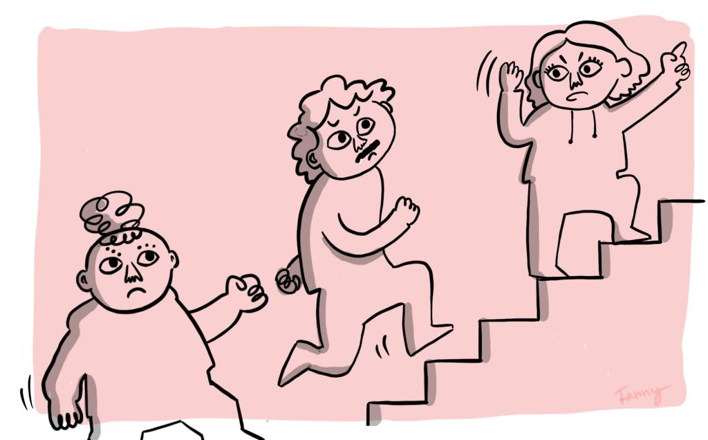 Tre personer på väg uppåt i en trappa.