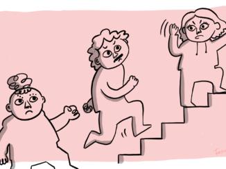 Tre personer går upp för en trappa
