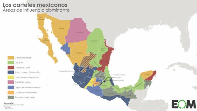 Kartan visar områden där karteller har inflytande. Provinserna Oaxaca, Chiapas och Quintana Roo är fria. I dessa områden har Zapatisterna politiskt inflytande, organiserar bönderna och ser till att knarket får inte fäste. Karta från elordenmundial.com.