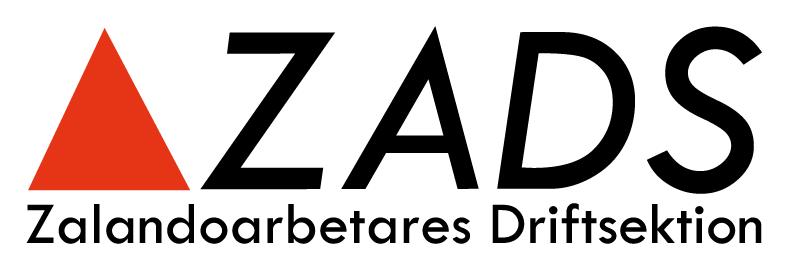Logotyp för driftsektionen i Zalandos lager i Brunna. En orange triangel och texten ZADS, Zalandoarbetares driftsektion.