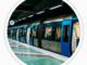 Ett tåg i Stockholms tunnelbana vid en perrong