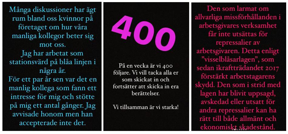 Exempel från Instagram-kontot som är startat av anställda i Stockholms tunnelbana.