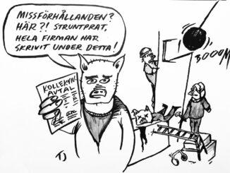 """Illustration som visar en byggarbetsplats där grisar arbetar. I bakgrunden skadar sig en arbetare och i förgrunden står en gris med ett papper som har texten """"kollektivavtal"""", i en pratbubbla finns texten """"Missförhållanden? Här?! Struntprat, hela firman har skrivit under detta""""."""